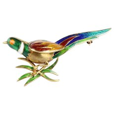 Vintage French 18K Gold and Enamel Pheasant Bird Brooch Pin