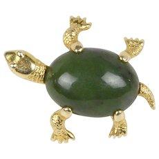 Vintage Nephrite Jade 14K Gold Turtle Pin