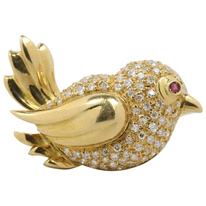 7bc148a960e Vintage Dove Bird 18K Gold 1.3 Carat Diamond Brooch Pin : Alpha and Omega Vintage  Jewelry | Ruby Lane