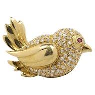 Vintage Dove Bird 18K Gold 1.3 Carat Diamond Brooch Pin