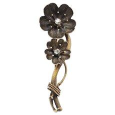 Victorian Dogwood Blossom 18K Gold and Diamond Brooch Pin