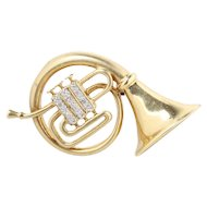 Vintage 14K Gold and Diamond French Horn Musical Instrument Pin Brooch