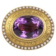 Art Nouveau 14K Gold and 9 Carat Amethyst Seed Pearl Pin Brooch