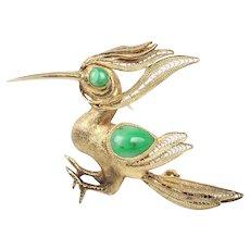 Vintage Jade and 14K Gold Handmade Bird Woodpecker Hoopoe Pin