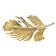 Vintage 18K Gold and 0.85 Carat Diamond Feather Brooch Pin