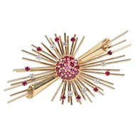 Retro Sputnik 14K Rose Gold Natural Ruby and Diamond Cosmic Spray Brooch