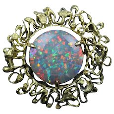 Spectacular 24 Carat Australian Black Opal and 18K Gold Abstract Brooch Pin