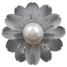 Carved Rock Crystal Diamond and Pearl Flower Brooch Pendant