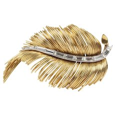 Vintage French 18K Gold and Diamond Feather Brooch Pin