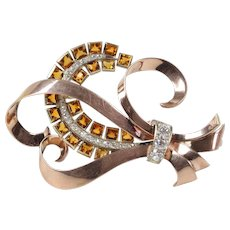 Retro Hungarian 14K Gold 2.75 Carat Diamond and 6.3 Carat Citrine Brooch Pin