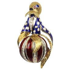 Vintage Circus Walrus Enamel 1 Carat Diamond 18K Gold Brooch Pin