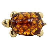 Whimsical Amber and 18K Gold Diamond Italian Turtle Brooch Clip