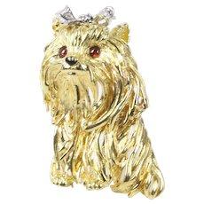 Vintage 18K Gold and Diamond Yorkie Dog Brooch Pin