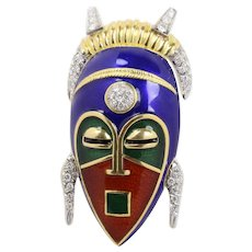 Large Vintage Enameled 18K Gold and 1.25 Carats Diamond African Mask Brooch Pendant
