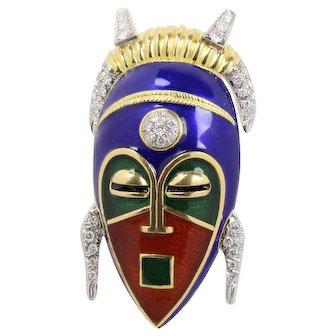 Large Vintage Enameled 18K Gold and 1.25 Carats Diamond African Mask Brooch Pendant