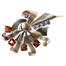 Bailey Banks and Biddle Retro Sapphire and Citrine 14K Gold Brooch