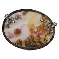 Large Victorian Dendritic Moss Agate and 2.5 Carat Diamond 14K Gold Brooch Pin