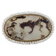 Antique Dendritic Moss Agate and Pearl 14K Gold Brooch Pin