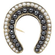 Victorian Seed Pearl and Hematite 15K Gold Horseshoe Brooch Pin