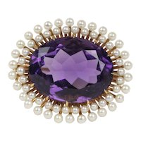 Art Nouveau Krementz Amethyst and Natural Seed Pearl 14K Gold Pendant Pin