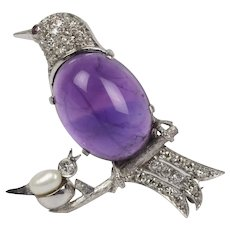 Amethyst and Diamond 14K Gold Mother and Baby Bird Brooch Pin