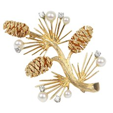 Vintage 14K Gold Diamond and Pearl Pine Cone Winter Brooch Pin