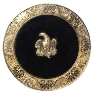 Victorian Onyx and 14K Gold Engraved Eagle Brooch Pendant