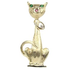 Vintage Siamese Cat Diamond and 14K Gold Brooch Pin