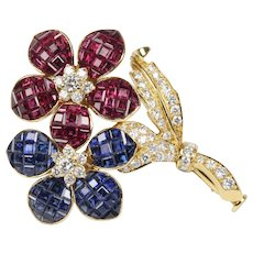 Vintage Invisibly Set Ruby and Sapphire Diamond Flower Brooch Clip