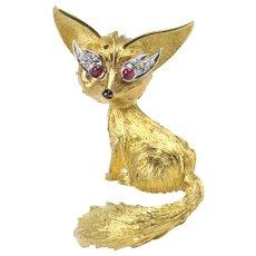 Vintage 18K Gold Diamond and Ruby Fox Brooch Pin
