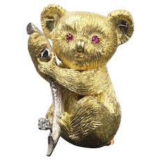 Vintage 18K Gold Koala Bear Ruby and Diamond Brooch Pin