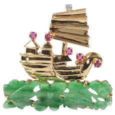 Vintage Carved Jadeite Jade Ruby and Diamond 14K Gold Ship Pin