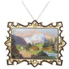 Victorian Swiss Enamel Painted Landscape Scene 18K Gold Pendant Brooch