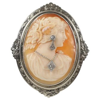 Vintage Carved Shell Cameo of Lady Wearing Jewelry 14K Gold and Diamond Brooch Pin