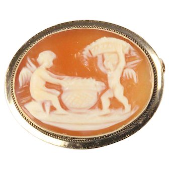 Vintage Angels Cupid Shell Cameo and 14K Gold Brooch Pin