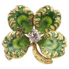 Art Nouveau Green Enamel Diamond and 14K Gold Four Leaf Clover Pendant Pin Fob