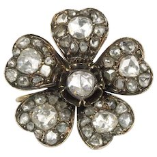 Georgian 2.5 Carats Rose Cut Diamond Silver and Gold Forget Me Not Flower Brooch Pin