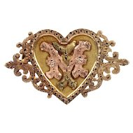 "Victorian 14K Yellow and Rose Gold Monogram ""MI"" ""IM"" Heart Pin Brooch"