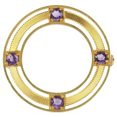 Antique Natural Amethyst and 14K Gold Filigree Circle Pin Brooch