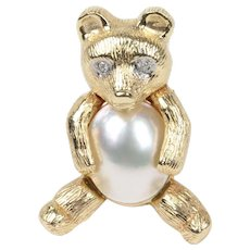 Vintage Diamond and Mabe Pearl 14K Gold Teddy Bear Brooch Pin