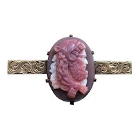 Victorian Natural Pink Agate Hand Carved Hercules Cameo 14K Gold Brooch Pin