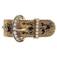 Victorian Seed Pearl and Enamel 14K Gold Buckle Scarf Pin Brooch