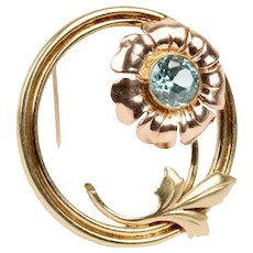 Midcentury Blue Zircon and 14K Gold Flower Circle Brooch Pin