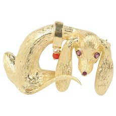 Vintage 14K Gold Sad Floppy Dog Hound Brooch Pin