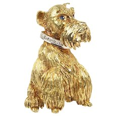 ee6e492b5 Vintage 18K Gold and Diamond Scottish Terrier Dog Brooch Pin