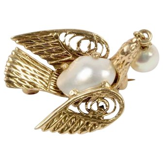 Vintage 14K Gold and Pearl Dove Bird Pin