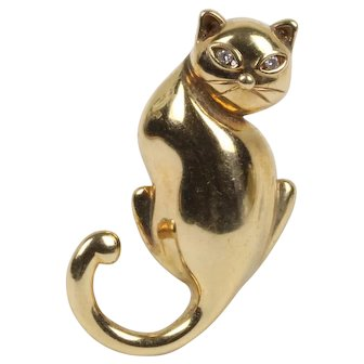 Vintage 14K Gold and Diamond Kitty Cat Brooch Pin