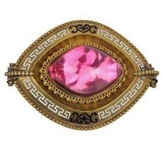 Victorian Pink Foiled Back Quartz Greek Key Enamel 18K Gold Brooch Pin