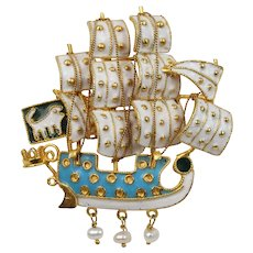Large Vintage Enameled 18K Gold Maritime Ship Boat Brooch Pin