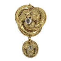 Victorian Etruscan Revival 14K Gold and Quartz Love Knot Brooch Pendant